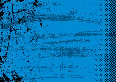 Blue Grunge Background with Texture and Halftone - Colored Illustration for Your Graphic Design, Vector