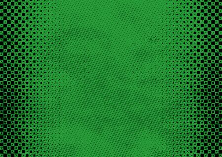 Green Grunge Background with Texture and Halftone - Colored Illustration for Your Graphic Design, Vector Ilustração