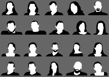Avatar Profile Picture Icon Set Including Male and Female on Gray Background - 20 Different Isolated Illustrations, Vector