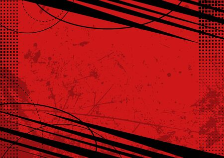 Red Grunge Background with Texture and Halftone - Colored Illustration for Your Graphic Design, Vector Ilustração