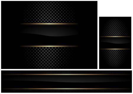 Set of Black Illustrations with Black Stripe and Gold Border and Gray Pattern - Luxury Graphic Design for Background and Banner and Business Card, Vector