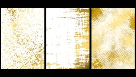 Set of Golden Texture Backgrounds - Artistic Covers Design with Rough Structure, Vector Illustration