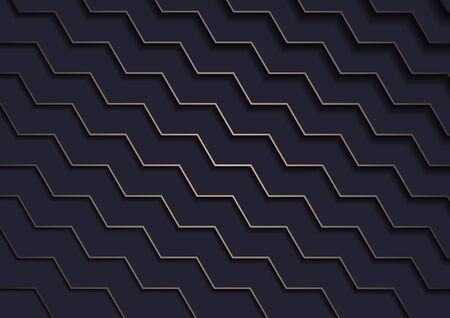 Dark Blue Background with Gold Pattern - Diagonal Stair Texture with Shadows on Dark Blue Layered Background, Vector Ilustração