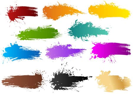 Colorful Watercolor Banners - Set of 11 Grungy Illustrations with Brush Stroke Effect and Splattered Effect, Vector