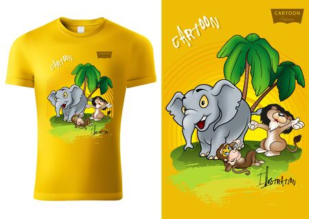 Yellow Child T-shirt Design with African Cartoon Animal Characters - Cheerful Unisex Illustration, Vector