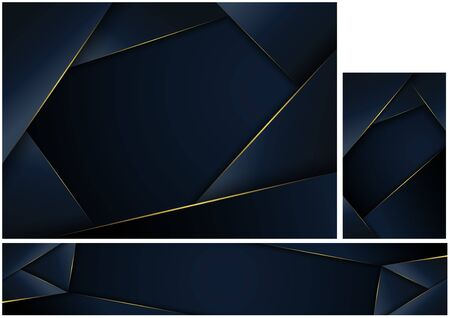 Abstract Polygonal Dark Blue Background with Golden Edges - Geometric Luxury Pattern for Background and Banner and Business Card, Vector Illustration