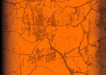 Orange Grunge Background with Texture and Halftone - Colored Illustration for Your Graphic Design, Vector Ilustração