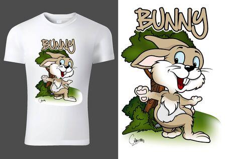 White Child T-shirt Design with Cartoon Bunny Character - Cheerful Unisex Illustration, Vector Ilustração