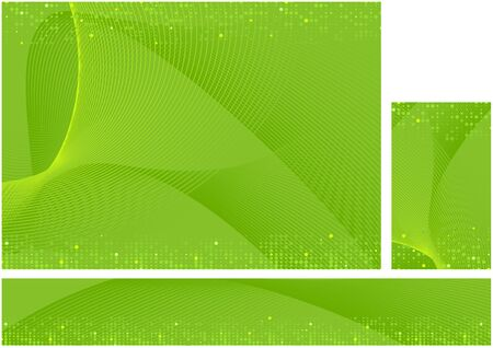 Vector Dynamic Hi-tech Abstract Background Set - Green Illustration with Colored Lines and Halftone Effect for Background and Banner and Business Card, Vector Ilustração