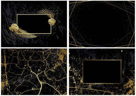 Set of Black Backgrounds with Artistic Golden Decoration - Gold Marble Pattern and Gold Lines Pattern and Gold Frame with Palm Leafs on Black, Vector Illustration
