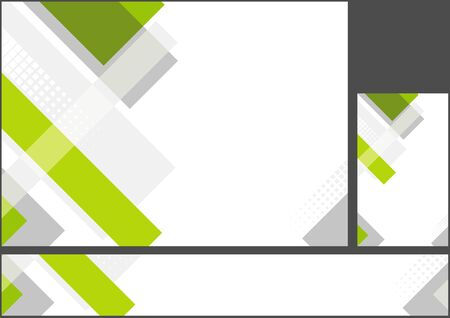 Hi-tech Green-Silver Corporate Abstract Background Set - Modern Geometric Design Illustration for Background and Banner and Business Card, Vector Ilustração