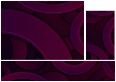 Dark Purple Abstract Geometric Background with Circular Shapes and 3D Shadows - Set of Illustrations for Background and Banner and Business Card, Vector
