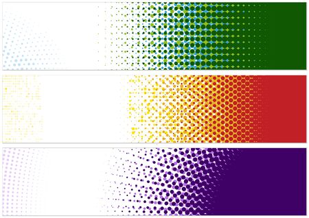 Web Banner Design Template with Halftone Pattern - Set of Three Abstract Illustrations with Colorful Dotted Effect, Vector