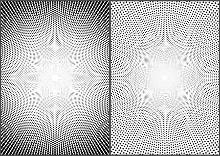Set of Gradient Halftone Dotted Circle Backgrounds - Black Templates Using Halftone Dots Pattern, Vector Illustration