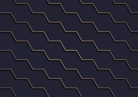 Dark Blue Background with Gold Pattern - Diagonal Stair Texture with Shadows on Dark Blue Background, Vector Ilustração
