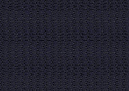 Dark Background with Hexagonal Grid Pattern - Geometric Texture with Three-dimensional Shadows on Dark Background, Vector Illustration