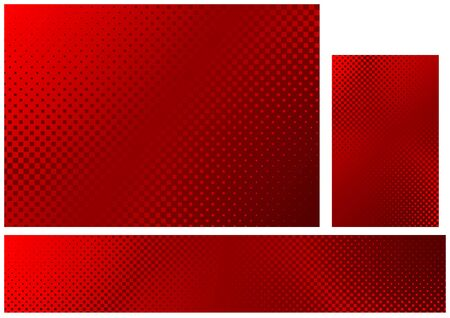 Set of Three Abstract Halftone Background in Red Colors - Graphic Design Illustration for Background and Banner and Business Card, Vector