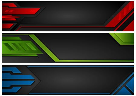 Set of Abstract Technology Banners - Red and Green and Blue Tech Design Illustration on Black Background, Vector Graphic
