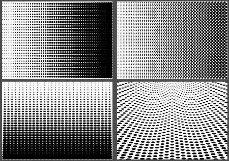 Set of Gradient Halftone Dotted Backgrounds - Black Templates Using Halftone Dots Pattern, Vector Illustration