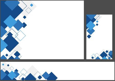 Set of Blue Geometric Backgrounds with Squares - Abstract Illustration for Background and Banner and Business Card, Vector