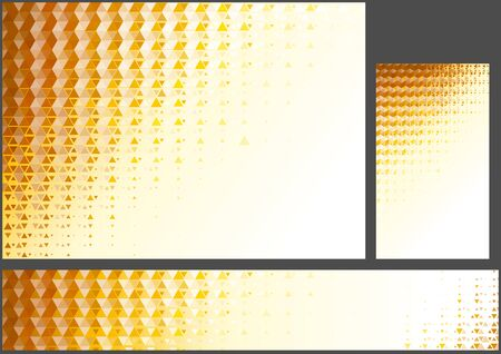 Set of Abstract Orange Polygonal Backgrounds - Geometric Mosaic Pattern for Background Illustration and Banner and Business Card, Vector