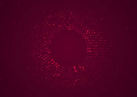 Red Circle Halftone Background - Circular Dotted Pattern with Glowing Effect and Glitters, Vector