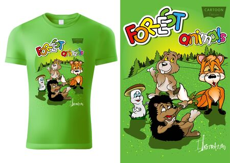 Green Child T-shirt Design with Cartoon Forestal Animals - Cheerful Unisex Illustration with Fox,Hedgehog,Beaver,Mushroom and Forest, Vector