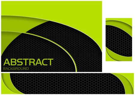 Abstract Neon Green and Black Tech Design - Set of Three Illustrations for Background and Banner and Business Card, Vector Graphic
