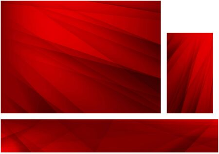 Set of Abstract Red Backgrounds with Stripes - Modern Design Graphic Illustration for Background and Banner and Business Card, Vector