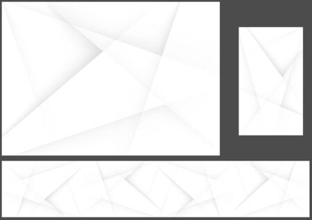 Set of Three Abstract Gray Hi-tech Polygonal Corporate Backgrounds - Design Illustration for Background and Banner and Business Card, Vector