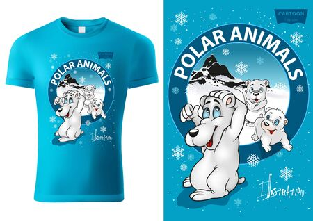 Blue Child T-shirt Design with Cartoon Polar Bear Characters - Cheerful Unisex Illustration with Inscriptions and Polar Landscape in Circle Banner, Vector