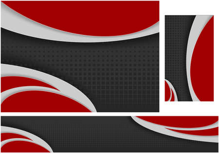 Abstract Black and Red Tech Wavy Design - Set of Three Illustrations for Background and Banner and Business Card, Vector Graphic