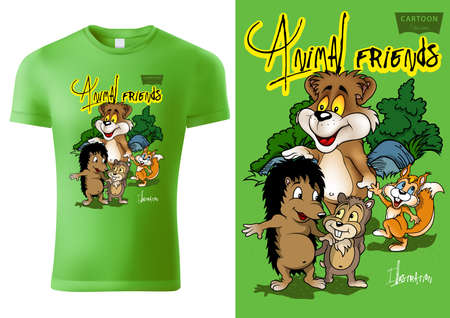 Green Child T-shirt Design with Cartoon Animal Characters - Cheerful Unisex Illustration with Bear,Hedgehog and Squirrel, Vector