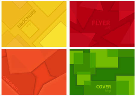 Set of Four Background Illustrations with Geometric Pattern for Flyer or Brochure or Propagation or Advertisement and etc., Vector Graphic 矢量图像