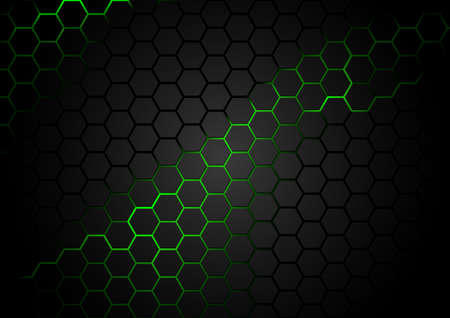 Black Hexagonal Pattern on Green Magma Background - Abstract Illustration with Glowing Neon Lava, Vector 矢量图像
