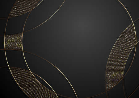 Gold and Black Abstract Luxury Background with Decorative Curved Lines and Halftone Pattern, Vector Illustration