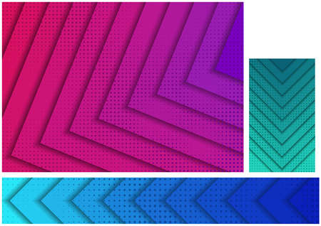 Abstract Backgrounds with Layered Stripes and Halftone Pattern - Set of Three Illustrations for Background and Banner and Business Card, Vector