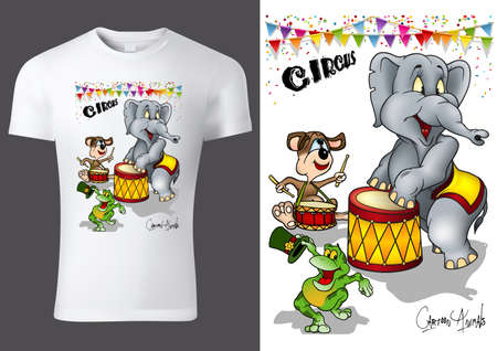 White Child T-shirt Design with Cartoon Circus Animal Characters - Cheerful Unisex Illustration, Vector 矢量图像