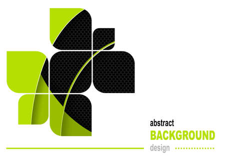 Abstract Flyer Design Background in Green and Black Color with Curved Shapes and Decorative Grid - Modern Illustration, Vector