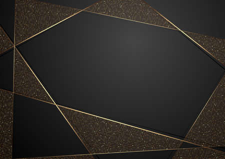 Gold and Black Abstract Luxury Background with Decorative Lines and Halftone Geometric Pattern, Vector Illustration 矢量图像