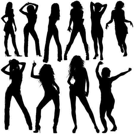 Dancing Girls - Black Silhouettes with Dance Poses, Vector 免版税图像 - 151628408