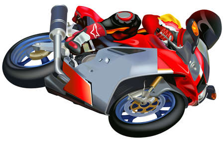 Man Riding an Motorcycle - Colored Illustration, Vector