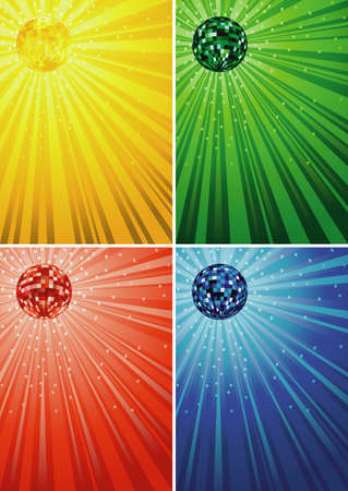 Disco Ball Background in Gold, Green, Red and Blue Tones - Colored Illustrations, Vector 免版税图像 - 151628733