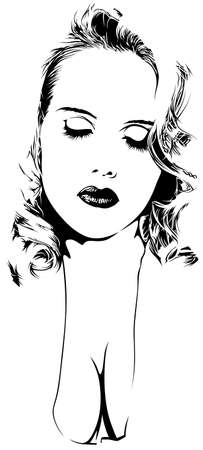 Woman Sketch - Black and White Art Illustration, Vector