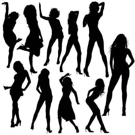 Dancing Girls - Black Silhouettes with Dance Poses, Vector