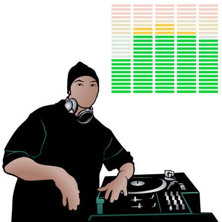 Disc Jockey Rap Music - Colored Illustration, Vector Illustration