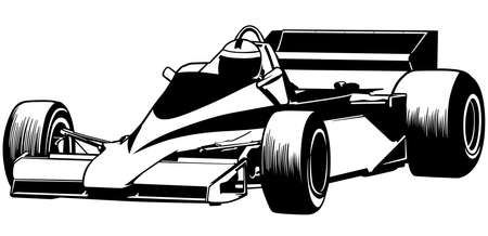 Black and White - Driver and Race Car Illustration, Vector 矢量图像