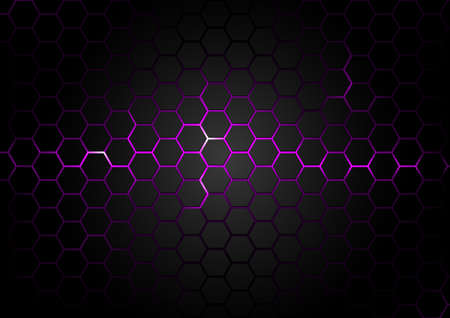 Black Hexagonal Pattern on Purple Magma Background - Abstract Illustration with Glowing Effects, Vector 矢量图像