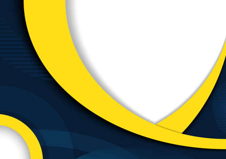 Abstract Modern Background Design with Curved Shapes in Yellow and Dark Blue Color - Graphic Illustration for Propagation or Presentation, Vector 矢量图像