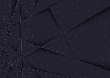 Dark Polygonal Background with 3D Shadows and Halftone Decorative Pattern - Plastic Geometrical Illustration, Vector